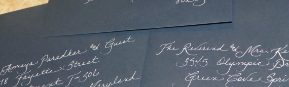 White Ink on Navy Envelopes