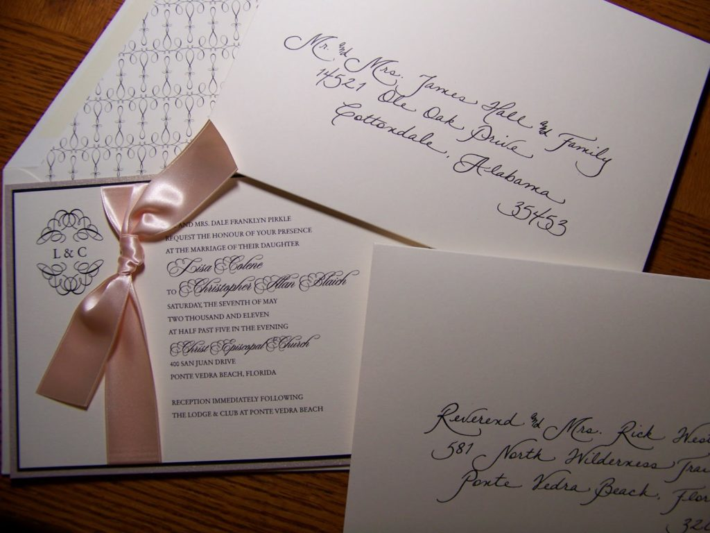 Jacksonville FL u2013 Calligraphy for Weddings Invitations