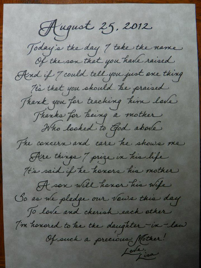 Mother In Law Poems Jacksonville, FL Calligraphy for Weddings ...