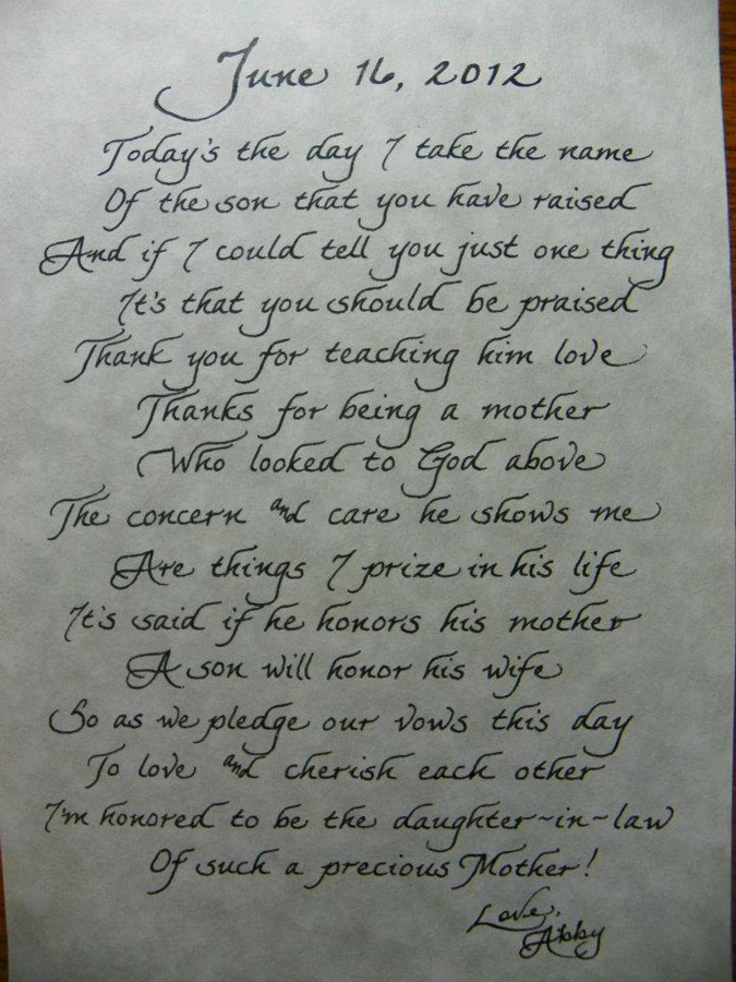Wedding Gift Poem For Dollars : Mother In Law Poems Jacksonville, FL Calligraphy for Weddings ...
